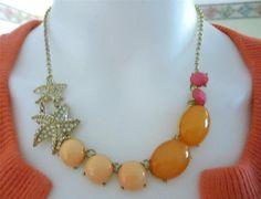 "Crystal Starfish and Multi Color Orange Stone Fashion Jewelry Necklace 18"" #Unbranded #Bib"