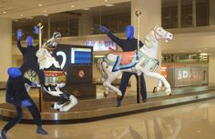 The Blue Men #travel to #Sydney #Australia for the tour. Carousel horses and Blue Men! ♡