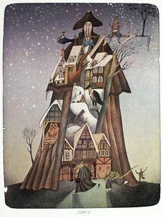 Adolf Born Children's Book Illustration, Character Illustration, Fairytale Art, House Drawing, All Nature, Graphic Design Art, Fantasy Art, Book Art, Fairy Tales