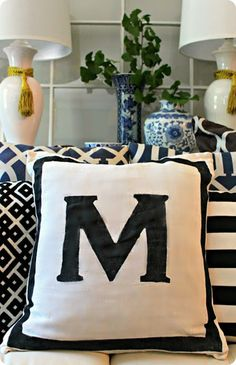 Designer inspired painted monogram pillow