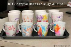 DIY Sharpie Ceramic Mugs and Cups from Who Needs a Cape - Not Your Average Super Moms... blog.