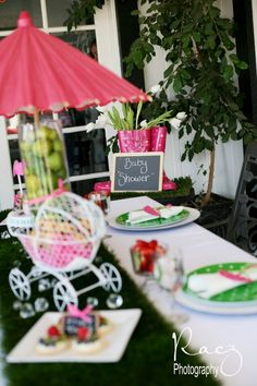 cute pink umbrella themed baby shower!