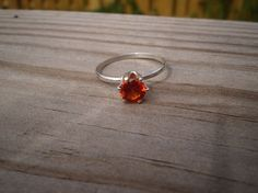 Faceted Lab Created Padparadscha Sapphire Ring Sterling by tlw1212