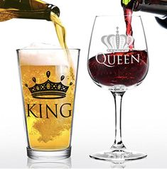 #wine #beer #relationshipgoals #toast #love #glasses Beer and Wine Glasses for King and Queen