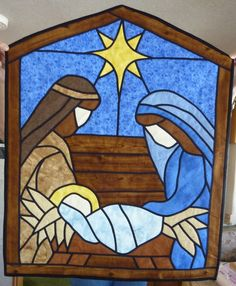 25 Ideas christmas quilting patterns stained glass for 2019 Stained Glass Quilt, Faux Stained Glass, Stained Glass Designs, Stained Glass Projects, Stained Glass Patterns, Christmas Nativity Scene, Christmas Art, Nativity Scenes, Christmas Quilt Patterns