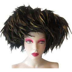 Womens Wide Brim Feather Hat Vintage 1980s Black Gold Joe Bill Miller Michael Howard Wool