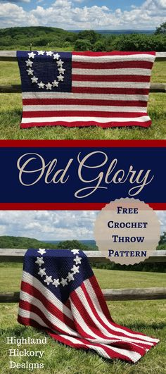 Easy Crochet Afghans Old Glory free crochet Afghan pattern - Crochet the Old Glory American Flag Afghan for yourself or a veteran! It's a free pattern full of the most minute details and instructional photos. Crochet Afghans, Crochet Throw Pattern, Crochet Stitches, Crochet Blankets, Crochet Cushions, Baby Afghans, Crochet Pillow, Crochet Granny, Crochet Crafts
