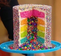 How to Make Pinata Cupcakes! These are so simple to make but they look SO COOL! Add your favorite filling and top with a colorfully swirled frosting! Bolo Pinata, Pinata Cupcakes, Piniata Cake, Candy Filled Cake, Mini Cakes, Cupcake Cakes, Candy Birthday Cakes, Surprise Cake, Rainbow Sprinkles