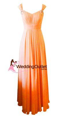 bridesmaid dresses peachy orange | Orange Maxi Bridesmaid Dress Style #A1029