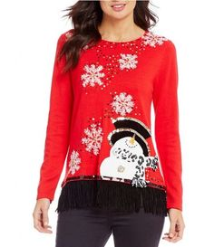 af32390296 Bright and cheerful snowman Christmas sweater features sequined snowflakes  for extra sparkle. Dressy Holiday Tops