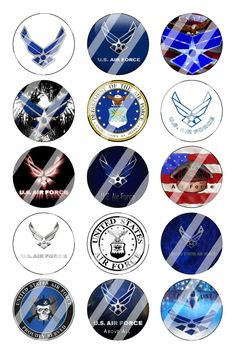 "Air Force Bottle Cap 1"" Circle Images Sheet #1 (instant download or pre cut)"