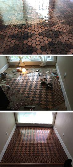 DIY penny floor | penny floor | home decor ideas | flooring ideas