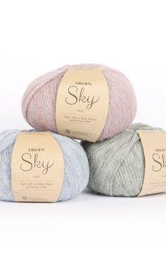 DROPS Sky - Molto morbida e leggera in baby alpaca e lana merino Crochet Wool, Knitting Wool, Easy Knitting, Wool Yarn, Merino Wool, Baby Alpaca, Laine Drops, Sport Weight Yarn, Drops Design