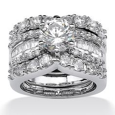 Ultimate CZ Platinum over Silver Cubic Zirconia Wedding Ring Set | Overstock.com Shopping - Big Discounts on Palm Beach Jewelry Cubic Zirconia Rings