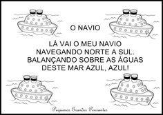Parlenda do Navio Portuguese Lessons, Education, Comics, School, 1, York, Matter Activities, Preschool Literacy Activities, Autism