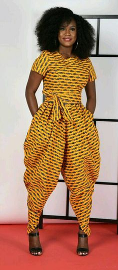 Yellow Harem Jumpsuit African print clothing by RAHYMA on Etsy