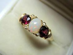 Victorian 18K YG Diamond Opal Rhodolite Garnet Ring Fine