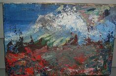 1930s Mountain Scene Oil Painting on Canvas//Pallette Knife on Etsy, $1,075.27