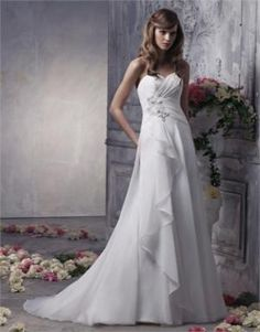 Organza A-line strapless halter sweep train Closure zipper simple white\ ivory sexy spring 2012 Anjolique Wedding Dresses AWD186