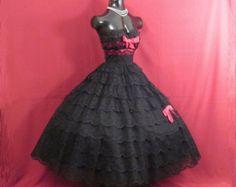 Vintage 1950 años 50 Vestido de encaje negro tul por VintageVortex