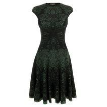 Emerald Victorian Puckering Lace Jacquard A-Line Dress