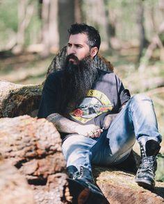 Trig Perez - long black beard mustache beards bearded man men mens' style clothing fashion tattoos tattooed #beardsforever