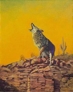 Coyote on a Kiva by Nancee Jean Busse Acrylic ~ 20 x 16