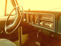 we still have a 1977 Ford Truck, red- with cattle racks and ramp up the back and a suicide knob on the steering wheel!