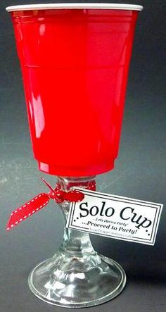 "Red ""Solo"" Cup Wine Glass...just saw these the other day, hilarious! @Elizabeth Mills and @Debbie Archacki"