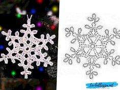 White Christmas in Thread Crochet Crochet Snowflake Pattern, Crochet Stars, Crochet Snowflakes, Thread Crochet, Crochet Motif, Crochet Crafts, Crochet Doilies, Crochet Flowers, Crochet Lace