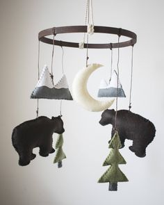 Woodland Mountain + Bear Felt Baby Crib Mobile: Woodland (Outdoor) Theme- Mountain + Bear Nursery Decor- Custom Colors Available by TwoEggsNesting on Etsy https://www.etsy.com/listing/512689673/woodland-mountain-bear-felt-baby-crib