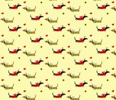 Dachshund Ladybug and Bumble Bee by Sudachan fabric by sudachan on Spoonflower - custom fabric Dachshund Art, Dachshund Puppies, Wiener Dogs, Novelty Fabric, Dog Art, Fabric Swatches, Pattern Wallpaper, Surface Design, Custom Fabric