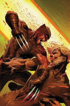 Wolverine VsSabretooth// artwork by Jerome Opeña (2012)  Cover art for Uncanny X-Force #32.