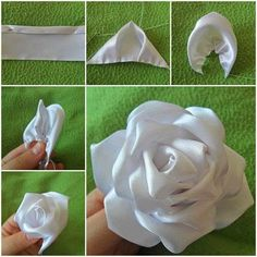 Today I am excited to feature this DIY tutorial to show you how to sew a silk ribbon rose. I am always amazed by people's creative minds and skillful hands to make something ordinary become extraordinary. This silk ribbon rose… Ribbon Art, Diy Ribbon, Fabric Ribbon, Ribbon Crafts, Flower Crafts, Ribbon Rose, Cloth Flowers, Satin Flowers, Silk Roses