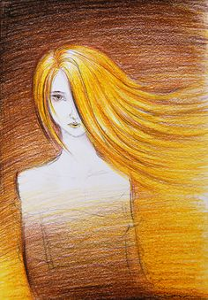 Yellow Girl by azzza on DeviantArt Mellow Yellow, Yellow And Brown, Pencil Drawings, Charcoal Drawings, Blonde Hair Girl, Painting People, How To Draw Hair, Doodles, Deviantart