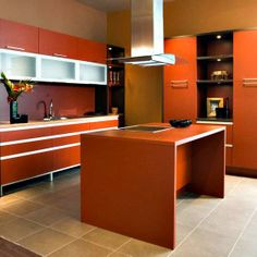 Browse Through Pictures Of Modern Orange Kitchens In This Complete Gallery Of Contemporary Kitchen Designs Featuring Various Hues Of Orange Cabinets