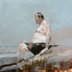 Swimmer with Belly. 20 x 20 in, oil on wood. Alex Kanevsky