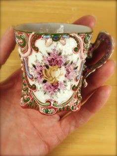 Tiny Ornate Floral Teacup and Saucer Set - Tiny and Beautiful Vintage Collectibles