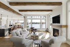 Gorgeous farmhouse style on Lake Minnetonka with nautical accents Modern Farmhouse Exterior, Farmhouse Style, Farmhouse Contemporary, Modern Rustic, Cottage Design, House Design, Modern Lake House, Lake House Plans, White Oak Floors