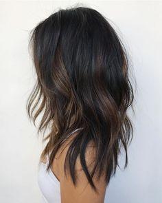 Medium Hair Styles, Curly Hair Styles, Brown Hair Balayage, Black Hair With Brown Highlights, Dark Balayage, Black Hair Lowlights, Partial Balayage Brunettes, Asian Balayage, Fall Highlights