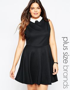 af1435a90a51 Image 1 of New Look Collar Sleeveless Skater Dress Plus Storlek Mode För  Kvinnor, Outfits