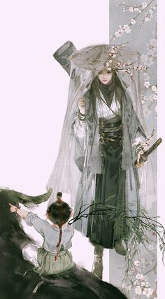 by Ibuki Satsuki Art And Illustration, Character Illustration, Fantasy Kunst, Fantasy Art, Chinese Drawings, Anime Kunst, Samurai Art, China Art, Anime Artwork