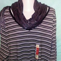 NWT  4X long sleeve tshirt NWT  4X long sleeve tshirt black grey white stripes.  V-neck.  Bundle with the listing of 3X shirts for even better deal!!! Faded Glory Tops Tees - Long Sleeve