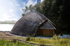 A viking storage house on the coast of Norway