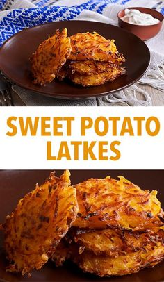 Sweet Potato Latkes — Try these sweet potato latkes for a healthier take on a traditional recipe. Vegetarian Dinners, Vegetarian Recipes, Cooking Recipes, Healthy Recipes, Healthy Chanukah Recipes, Yam Recipes, Jewish Recipes, Healthy Dinners, Healthy Foods