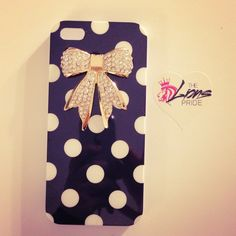 Black Polka Dot Crystal Bow iPhone 5 Case $16.00