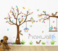 Squirrel Bird Tree Rabbit Wall Sticker Decal Removable Kids Nursery Decor Art | eBay