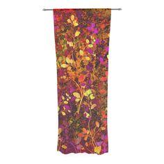 "Ebi Emporium ""Amongst the Flowers - Warm Sunset"" Pink Orange Decorative Sheer Curtain"