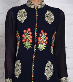 Black Churidar Set with Embroidered Patches | by Panee