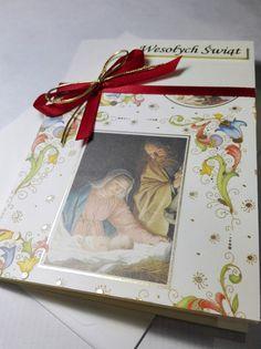 Ręcznie robiona kartka świąteczna z Jezusem, Maryją i Józefem, z włoskiego papieru ozdobnego ze sproszkowanym złotem.  Handmade christmas card with Jesus. Made with italian paper with gold powder.